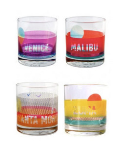 Sisters of Los Angeles Beach Glasses Fans of Endless Summer, or just the house mixologist, will appreciate a new set of double old-fashioned glasses inspired by California's famous beaches.