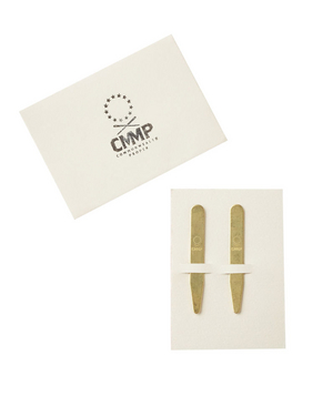 Handmade Salvaged Brass Collar Stays For the guy always on the go: A pair of handsome brass collar stays packaged on a convenient take-along card.