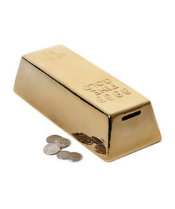 Ceramic Gold Coin Bank Saving for a rainy day (or the next weekend with the guys) never looked better than in this ceramic metallic-finished bank.