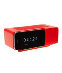 Areaware iPhone Alarm Clock A bright pop of color for his bedside table that conveniently hooks up to his iPhone.