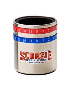 Scorzie Score-Tracking Coozies The ultimate multitasker: This stainless steel coozie keeps the score—and their drink frosty.