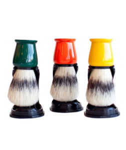 Natural Bristle Shaving Brush A natural boar brush with glossy color-saturated stand will be treasured and broken out for every memorable event.