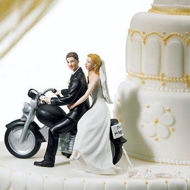 """MOTORCYCLE """"GET-AWAY"""" WEDDING COUPLE FIGURINE"""