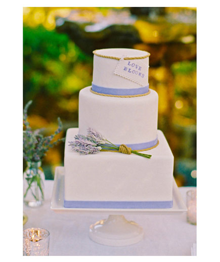 Play on Words Sugar sprigs of lavender wrapped in edible twine add a romantic touch to an outdoor reception.