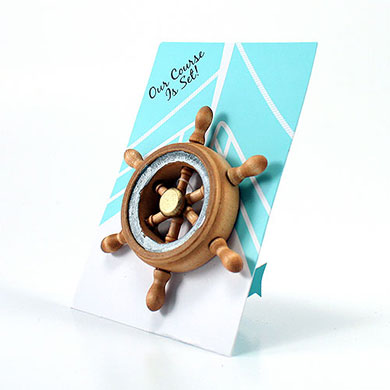"""""""OUR COURSE IS SET"""" BOAT WHEEL MAGNET FAVOR GIFT"""