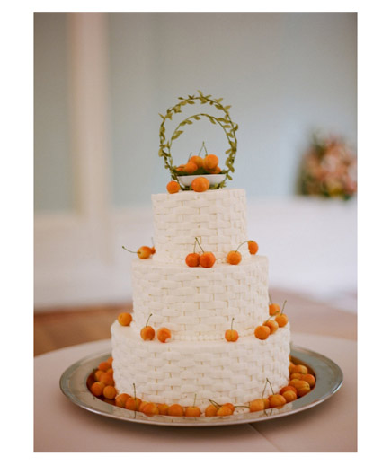 Cherry on Top If you're looking for a little bit of texture and charm, follow this couple's lead: an elegant basketweave designed cake with cherries on top.