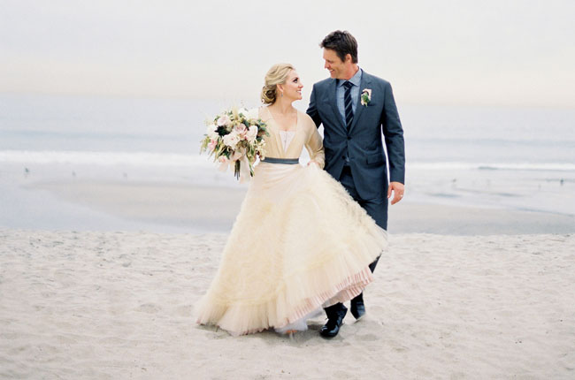 gorgeous winter beach wedding dress