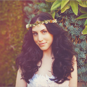 Voluminous Wedding Hairstyle with a Flower Crown