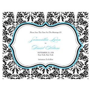LOVE BIRD DAMASK SAVE THE DATE CARD