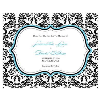 LOVE BIRD DAMASK SAVE THE DATE CARD