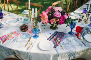 The one long winding table and personal dyed placements for each guest were simply perfect in this wedding