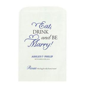 EAT DRINK MARRY PRINTED FLAT POCKET GOODIE BAG