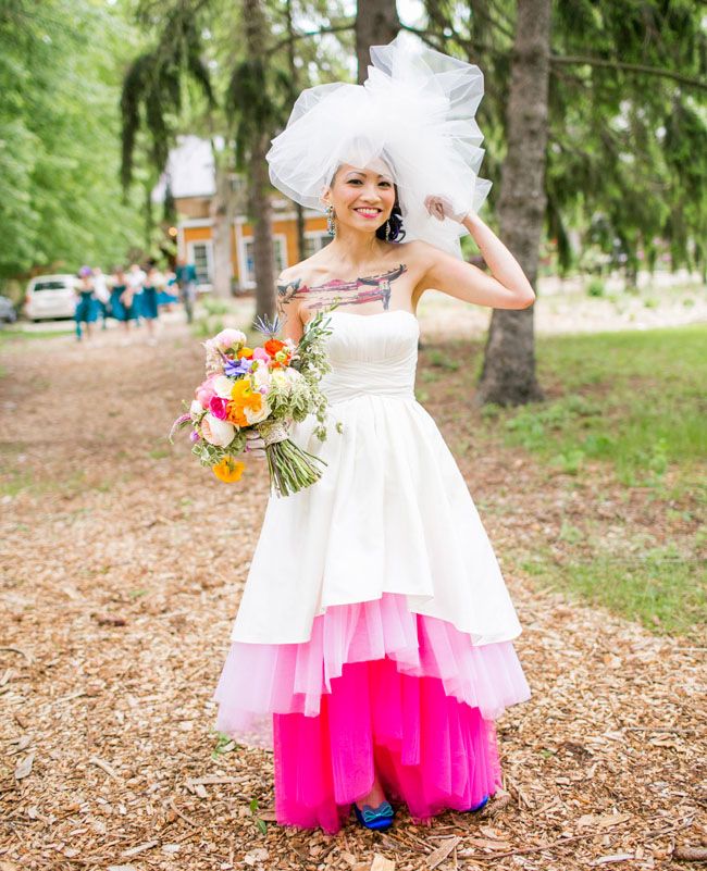 we loved how fun + whimsical Janet's altered Wtoo dress was from this wedding