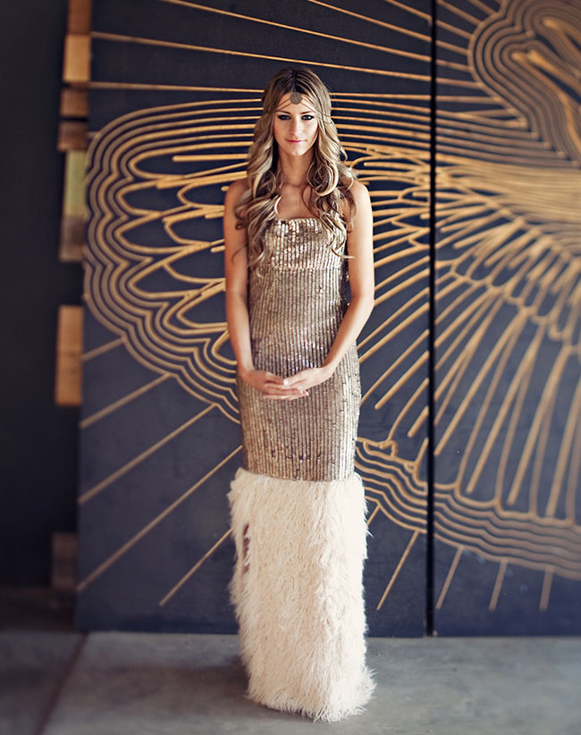 This gold metallic gown