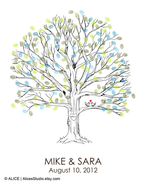 Hand Drawn Wedding Guest book Fingerprint Tree Print – Guest Book Alternative Poster – Fingerprint Guest