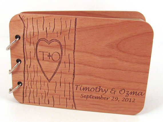 Wedding Guest Book – Carved Tree Design on Real Wood