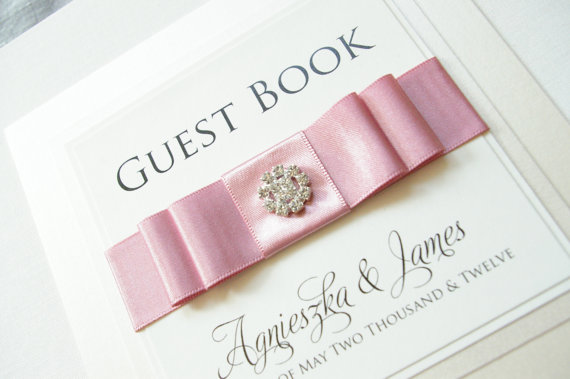 Wedding Guest Book – Personalized – Beautiful Bow with Diamante Cluster
