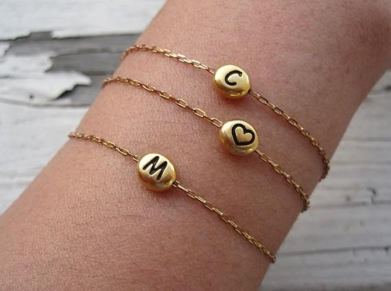Initial Bracelet, Gold Initial Bracelet, Bridesmaid Bracelet