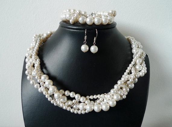 Bridal Jewelry Set: Swarovski Pearl Necklace, Bracelet and Earrings