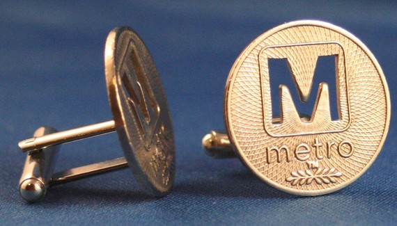 WASHINGTON DC Metro Token M-Cut Cufflinks