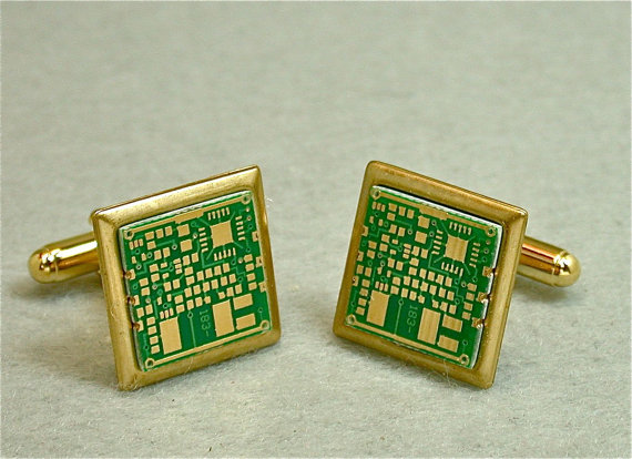 Recycled Green CIRCUIT BOARD 24k GOLD Geek Cuff Links