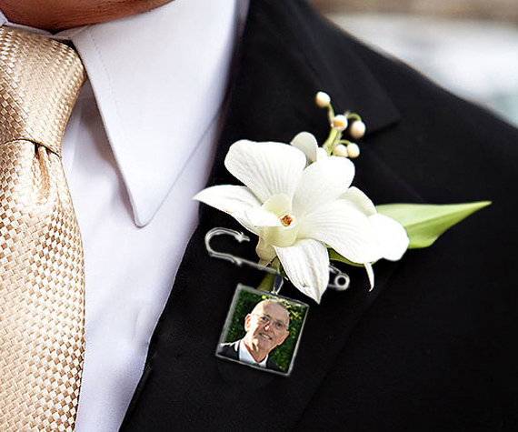 Boutonniere Charm Lapel Pin Custom Photo Memory Wedding Charm for the Groom