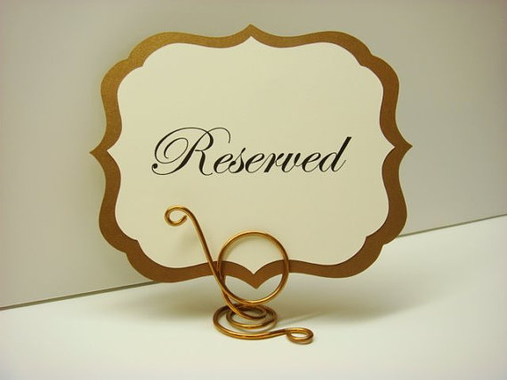 Wedding Sign Elegant Vintage Style Label Design Prepared with your Custom Wording for your Head Table, Reserved Signs, Dessert Buffet Signs