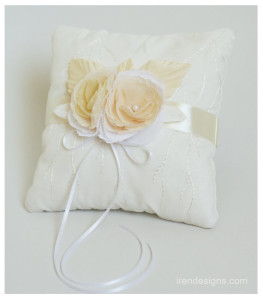 Ring Pillow. Ivory Ring Pillow. Handmade Wedding Ring Pillow With Handmade Fabric Flower