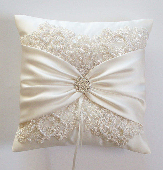 Wedding Ring Pillow with Beaded Alencon Lace, Ivory Satin Sash Cinched by Crystals