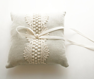 Wedding Ring Pillow, Natural Linen, Ring Bearer Pillow