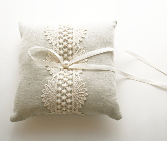 Wedding Ring Pillow, Natural Linen, Ring Bearer Pillow