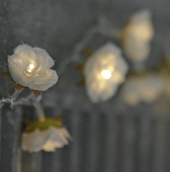Longer White Shabby Rose Fairy Lights – perfect wedding flower table decor lighting
