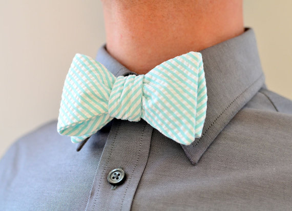 Men's Bow Tie in Mint Green Seersucker- mens freestyle wedding groomsmen bowtie neck self tie striped