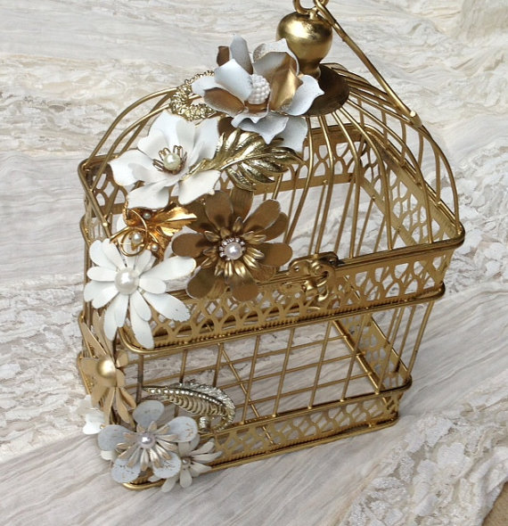 White and Gold Birdcage Card Holder with Metal Enamel Flowers and Vintage Brooches Small Wedding Card Holder Wish Box Candle Holder