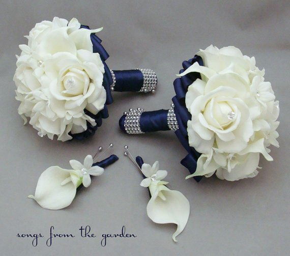 Navy Wedding Flower Package Bridesmaid Bouquets Groomsman Boutonnieres