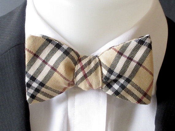 Mens bowtie – black and camel plaid fabric – Classic style