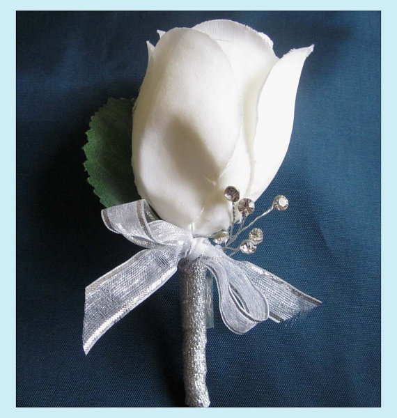 Off White Rose Boutonniere With Rhinestones And Silver Ribbon
