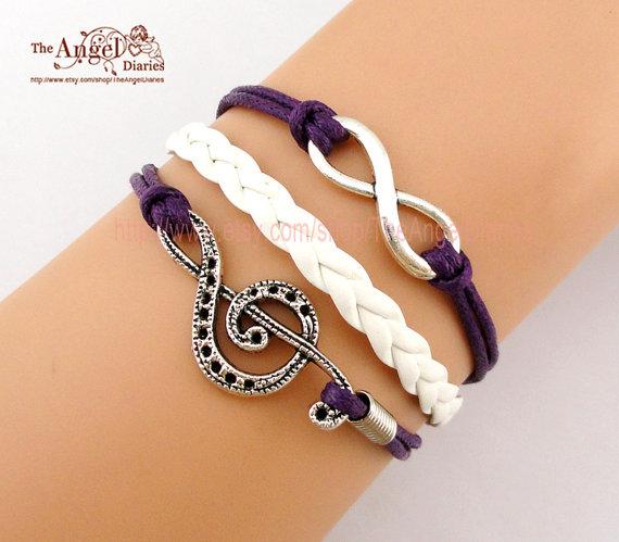 Bracelet , Infinity Wish, Treble Clef, Music Note Charm Bracelet, Wax Cord, Leather Braid