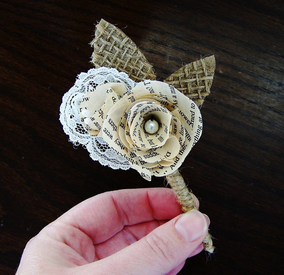 Book Page Boutonniere -Rustic Boutonniere -Paper Boutineer