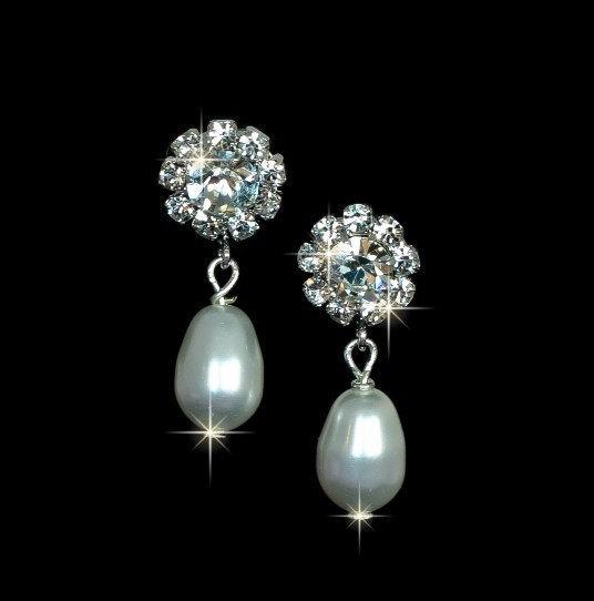 Bridesmaids Earrings, Bridal Pearl Earrings, Rhinestone Earrings,