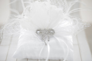 Ring Pillow – Wedding ring pillow, rhinestones crystals ,russian veiling and feathers ring pillow, bridal ring bearer pillow