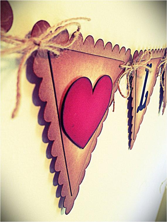 "HELLO LOVE "" Wedding Garland – Vintage Style – Wedding Banner – Anniversary – Engagement banner – Shabby Chic"