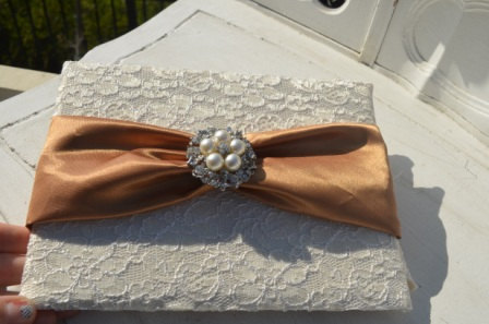 Lace Wedding Guest book with Copper sash with large pearl and crystal brooch
