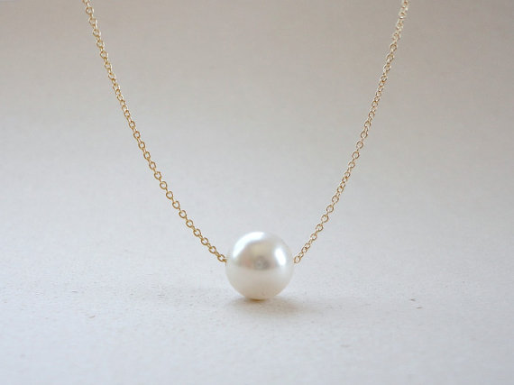 Single pearl necklace, Floating pearl necklace, Bridal pearl necklace, Bridesmaid gift, Simple everyday jewelry