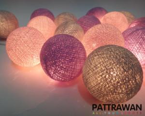 LED Romance Pastel 20 Cotton Ball String Lights (Pale Pink ,Purple, Gray)