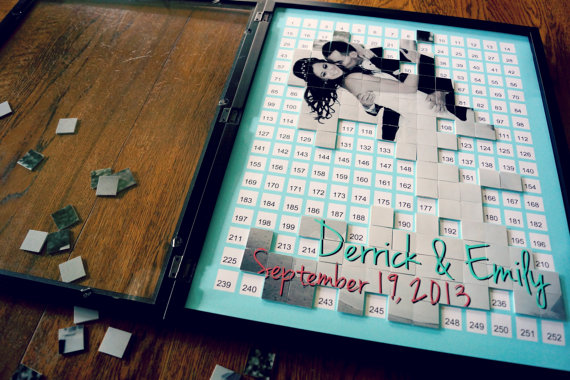 Alternative Wedding Guest Book – Puzzle Guestbook – Photo Collag