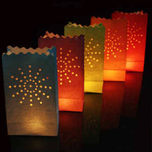 30 X Sunburst tea light holder luminaria paper lantern candle bag bbq xmas Parties Wedding giftbag events festivals