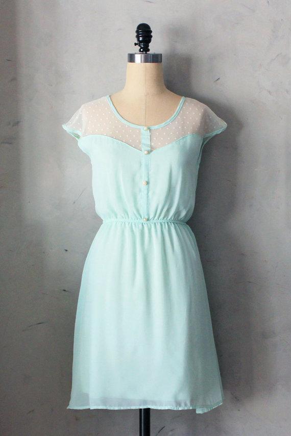 PETIT DEJEUNER SPEARMINT – Soft mint chiffon dress with ivory lace inset // bridesmaid