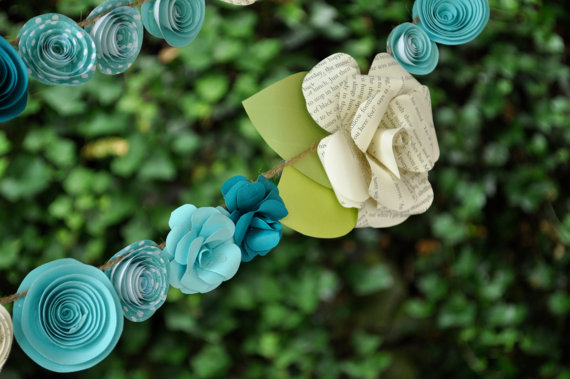 Wedding Garland Paper Flower garland Teal and white flowers