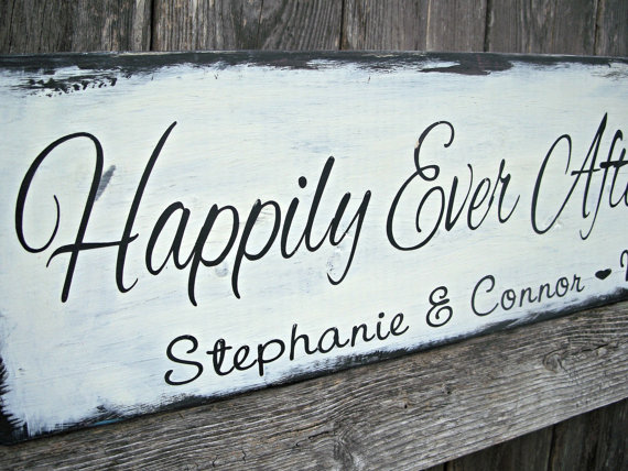 Happily Ever After Starts Here – Vintage Shabby Chic Distressed – Personalized Wedding Sign, Bridal sign, Photo prop, Reception , Mr & Mrs,